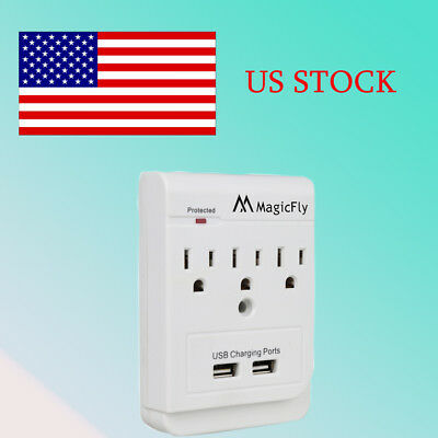 3 AC Outlet Wall Mount Surge Protector with 2 Dual USB Charging Ports US Plug