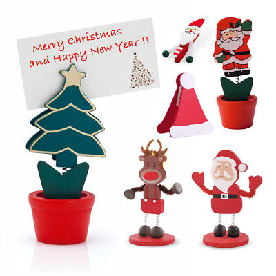 2 x Christmas Table Place Card Holder Santa Hat Tree Reindeer Decoration Xmas UK - Halloween Table Decorations Uk