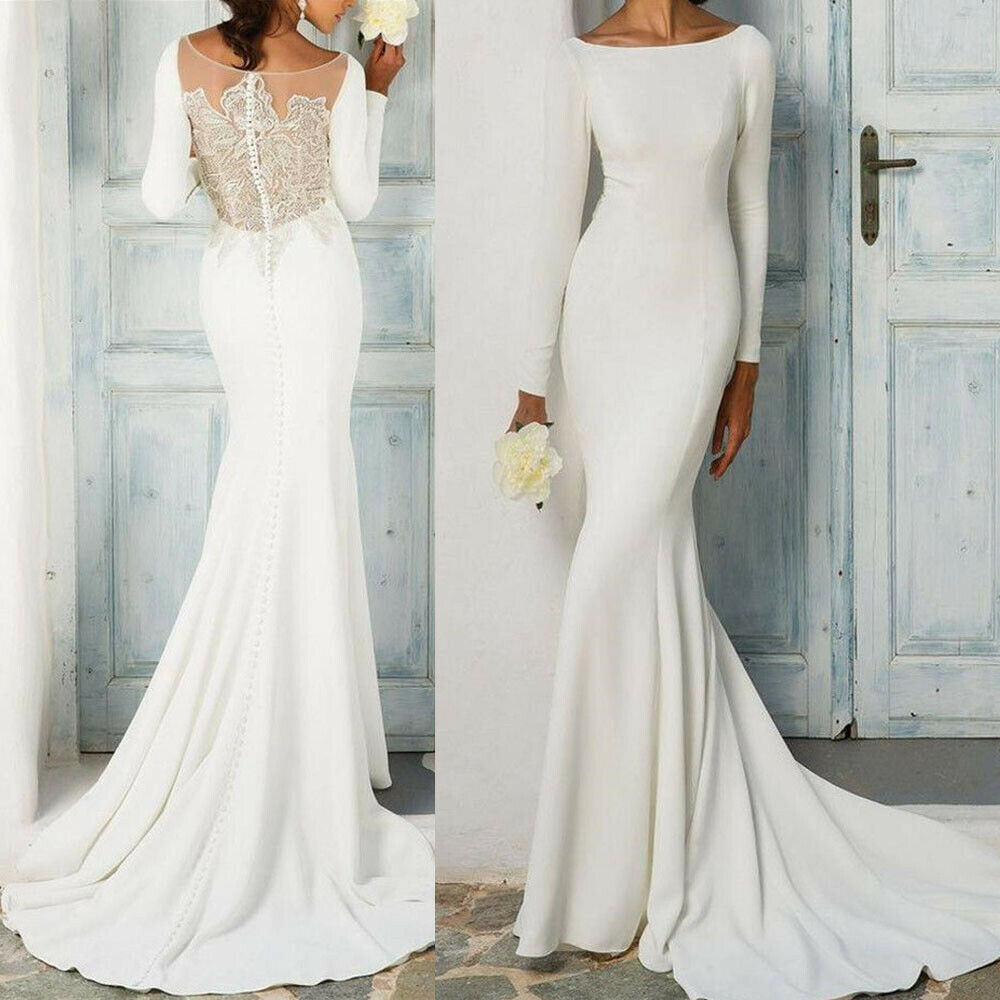 details about long sleeve wedding dresses mermaid bridal gowns sheath white  ivory beaded dress