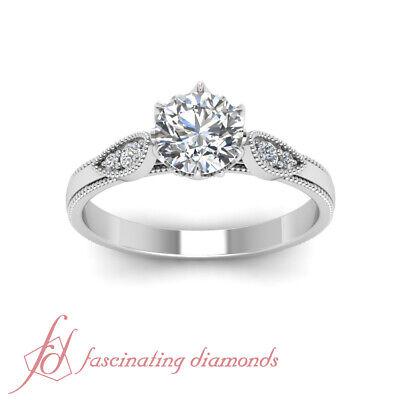 1/2 Carat Round Cut FLAWLESS Diamond Milgrain Engagement Ring GIA Certified 2