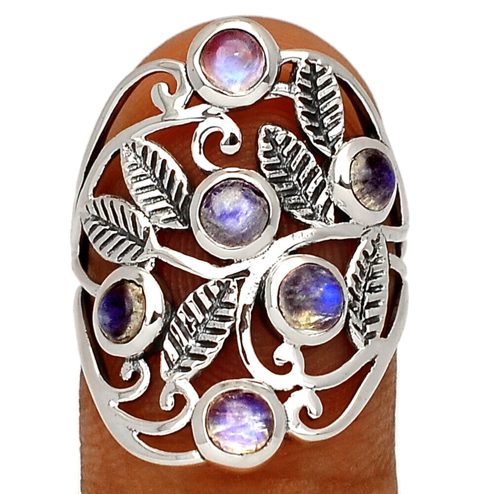 Leaves - Moonstone - India 925 Sterling Silver Jewelry Ring S.6 BR37339 - $18.99
