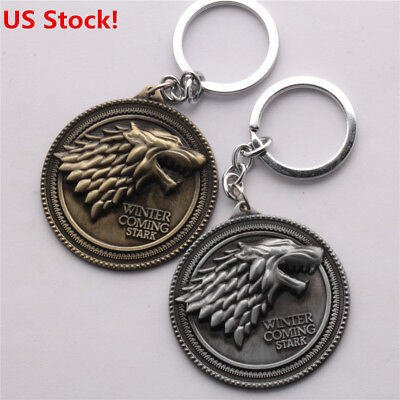 US! Game of Thrones House Stark Keychain Wolf Head Metal Keyring Fans Gift HOT