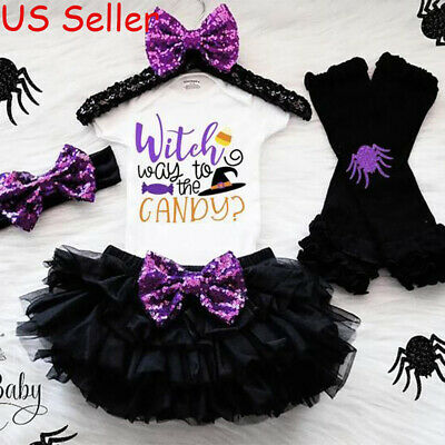 US Newborn Baby Girl Halloween Top Romper Tutu Dress Leg Outfit Clothes 4Pcs Set - Newborn Girl Halloween Outfits