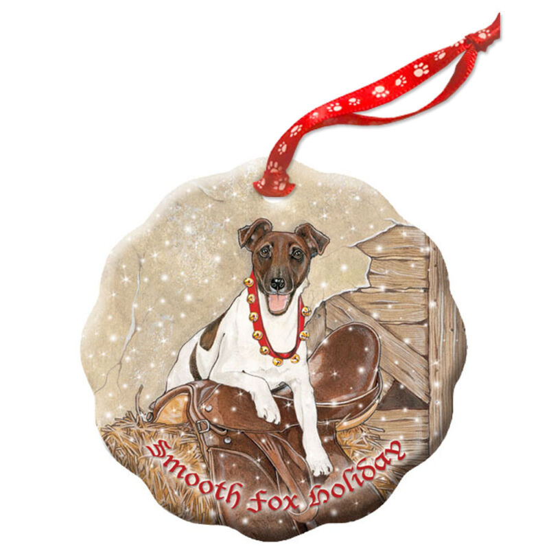 Fox Terrier Smooth Holiday Porcelain Christmas Tree Ornament