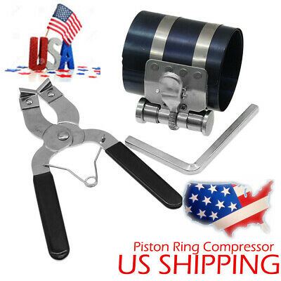 2pc Ratchet Style Piston Ring Compressor and Piston Ring Installer Pliers US