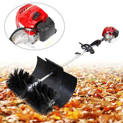 Gas Power Hand Held Cleaning Sweeper Broom 52cc Driveway Turf Nylon Brush Best