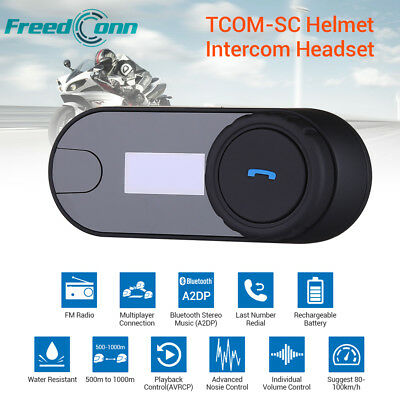 2.4GHz TCOM-SC Bluetooth Motorcycle  Helmet 800M Intercom Headset with Screen MF
