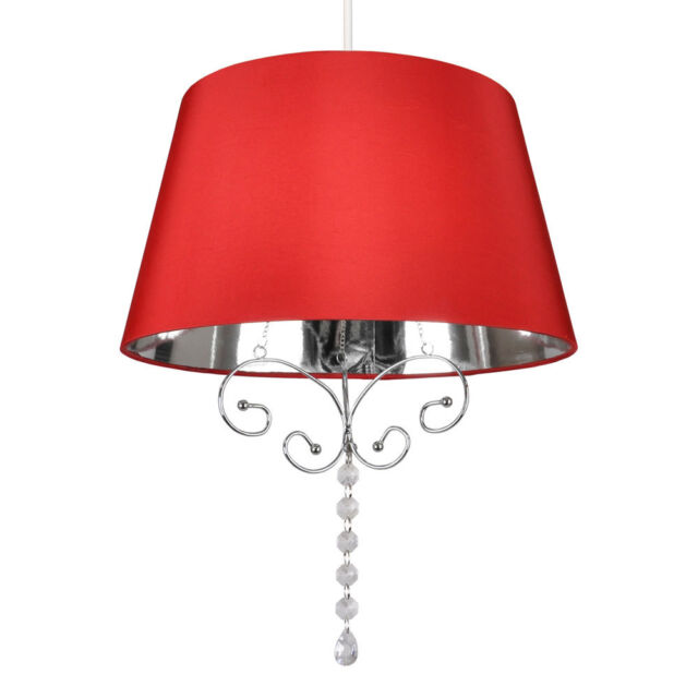 NEW Modern Red Faux Silk & Chrome Ceiling Pendant Light Lampshade Chandelier