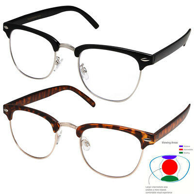 Multifocal Reading glasses NO Line Progressive Clear Lens half rimless (Half Lens Glasses)