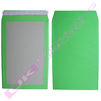 5 x LARGE GREEN A4 C4 HARD BOARD BACKED SELF SEAL POSTAL ENVELOPES 229x324mm