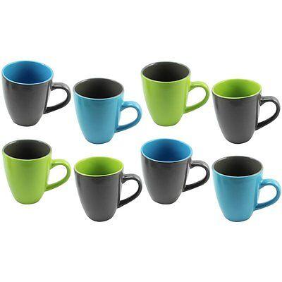 8x Kaffeebecher, 325 ml, Kaffeetasse in verschiedenen Farben, B-Ware