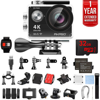 Akaso EK7000 UHD 4k Wide Waterproof Sports Action Camera Black w/ 32GB+Warranty