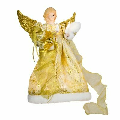"Gold Dress Angel Light Up Christmas Tree Topper Decoration 12"" Tall NEW UL1979"