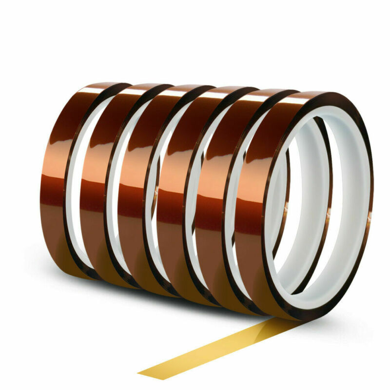 6 Rolls 10mm X 30m(100ft) High Temperature Heat Resistant Kapton Polyimide Tape