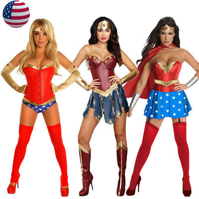 Adult Wonder Woman Supehero Corset Costume Superwoman Fancy Dress - Adult Wonder Woman