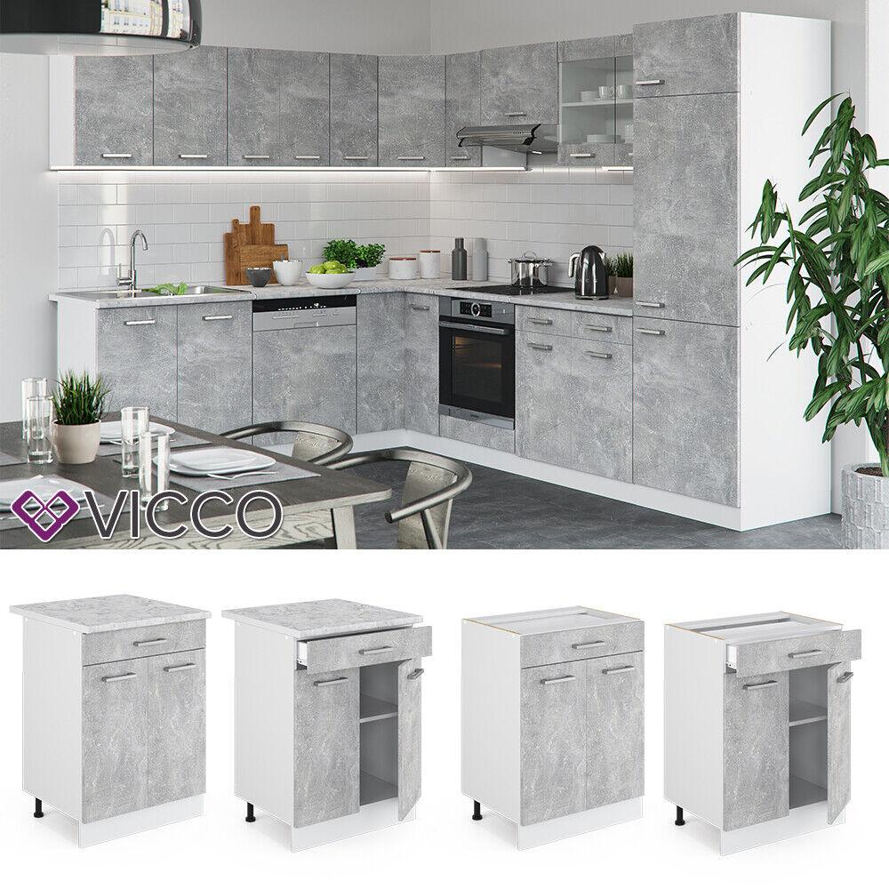 VICCO Küchenschrank Hängeschrank Unterschrank Küchenzeile R-Line Schubunterschrank 60 cm beton