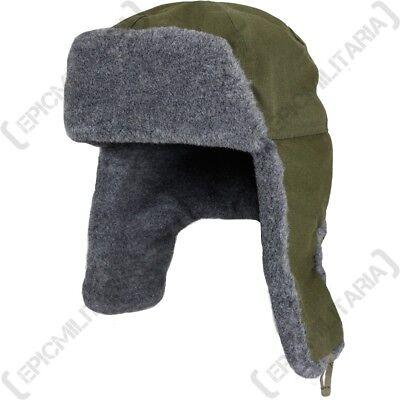 Czech / Russian Ushanka Hat Olive Green - Winter Ski Fur Soviet Surplus Military