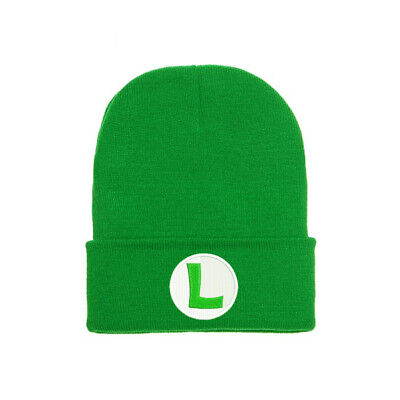 SUPER MARIO LUIGI BROS GREEN LOGO EMBROIDERED BEANIE HAT CAP HALLOWEEN - Super Mario Luigi Halloween Costumes