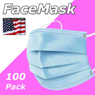100 Pcs Face Mask Disposable Protective 3 Ply Mouth Cover Usa Ship