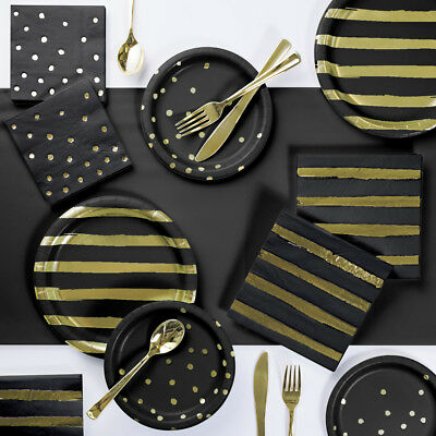Black and Gold Foil Party Supplies Kit