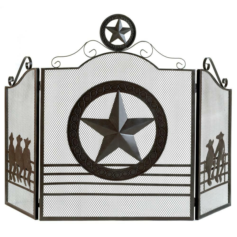Fireplace Screen Southwest Cowboy Iron Texas Lone Star Fire