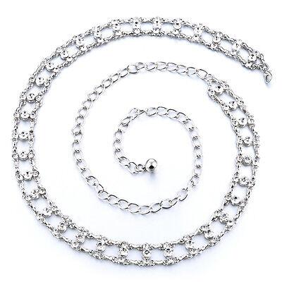 Ladies Girls Silver Waist Belt Diamante Chain Adjustable Fashion Rhinestone 284