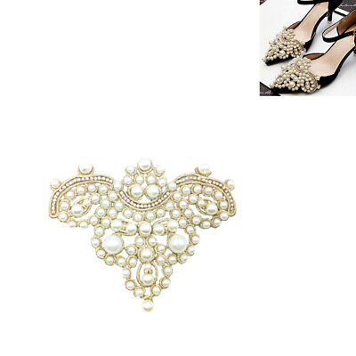 2pcs Pearl Flower Shoe Clip With Rhinestones Iron on Pearl Patch Badge Applique Pearl Shoe Clips