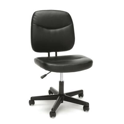 Essentials By Ofm Ess-6005 Armless Leather Desk Chair Black
