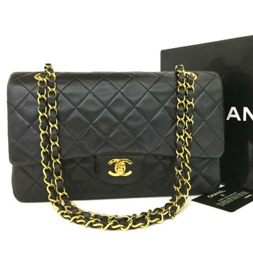 CHANEL Double Flap 25 Quilted CC Logo Lambskin w/Chain Shoulder Bag Black/11310