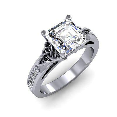 1.44ct Asscher Celtic Look Diamonds VS2-H GIA 14K 18K Platinum Engagement Ring 1