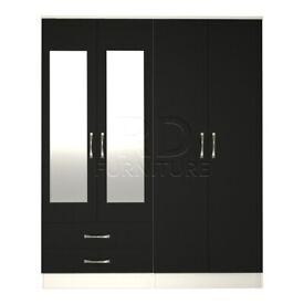Beatrice 4 door 2 drawer mirrored wardrobe white and black