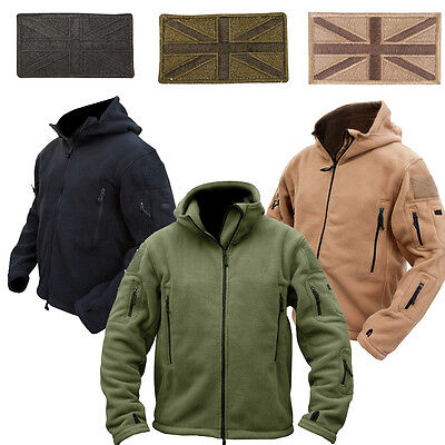 Recon Taktische Kapuzenpulli Militär Design Fleece Jacke mit Union Jack Patch Design-fleece-jacke