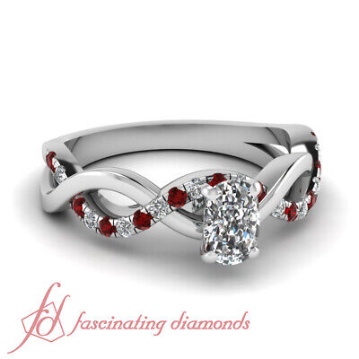 Engagement Ring Pave Set 3/4 Carat Cushion Very Good Cut VVS2 Diamond & Red (2 Carat Cushion Cut Pave Engagement Ring)