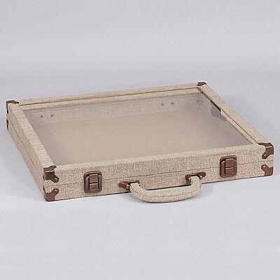 Modern Burlap Glass Top Travelling Jewelry Case Storage Box Travel Case Display