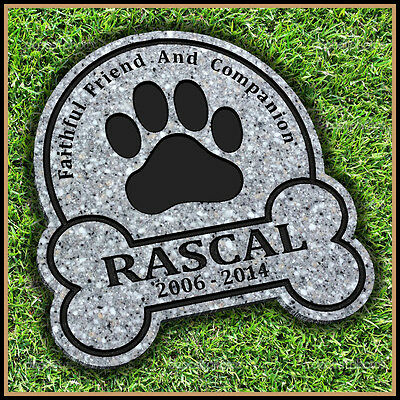 "Pet Memorial Grave Marker 11"" x 11.5"" Paw Print Headstone Dog Cat Gravestone"