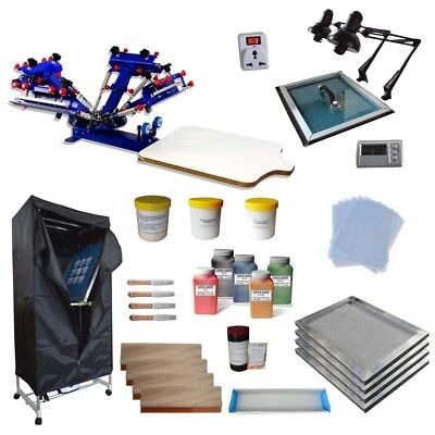 Adjustable 4 Color 1 Station Screen Printing Press Kit Drying Cabinet Exposure