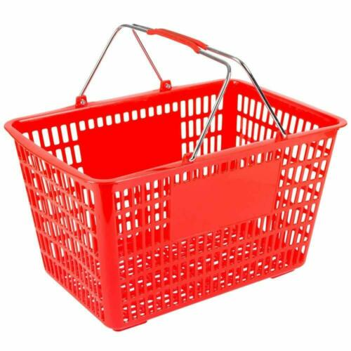 Red Plastic Shopping Basket with Strong Metal Handles- 1 Basket