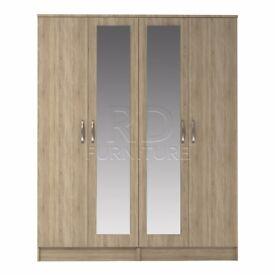 Classic 4 door double mirrored wardrobe oak