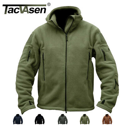 TACVASEN Mens Fleece Jacket Tactical Full Zip Police Military Jacket Winter Coat