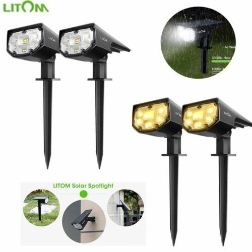 2x Litom Solar 4 LED Spot Lights Wall Lights Outdoor Garden Waterproof Yard Lamp