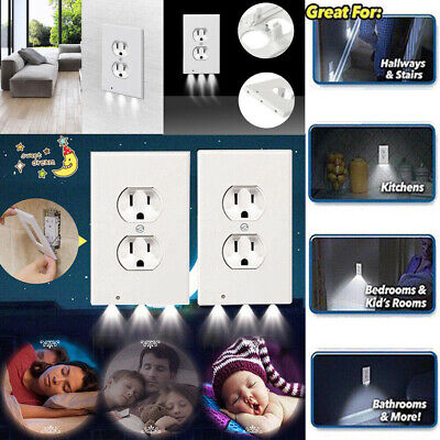 - 5x Outlet Wall Plate Led Night Lights Cover Duplex With Ambient Light Sensor US