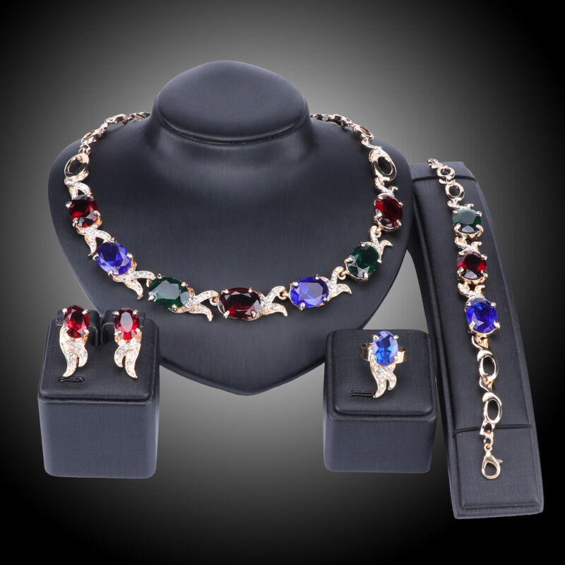 Women Gold Plated Crystal Zircon Pendant Wedding Party Necklace Jewelry Sets