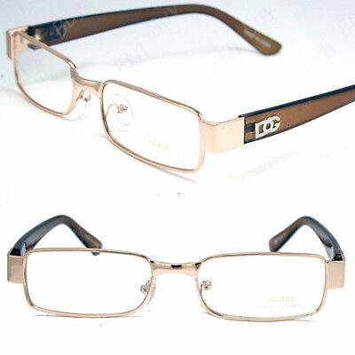 New Mens Womens Clear Lens Gold Frame Glasses Designer Fashion Optical RX (Gold Glasses For Women)