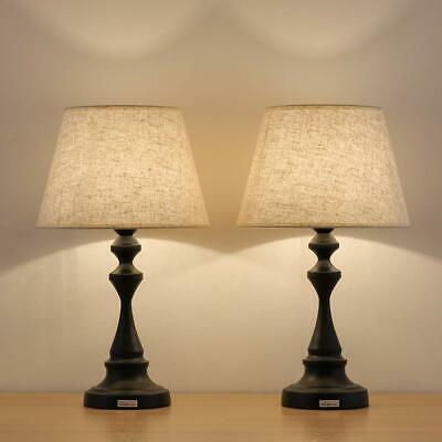 Table Lamps Set of 2 - Contemporary Nightstand Light Lamps with Linen Shade