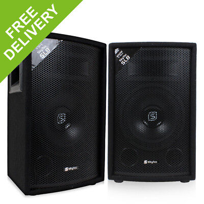 "2x Skytec 8"" Inch Passive PA Speakers Disco DJ Sound Package 800W"
