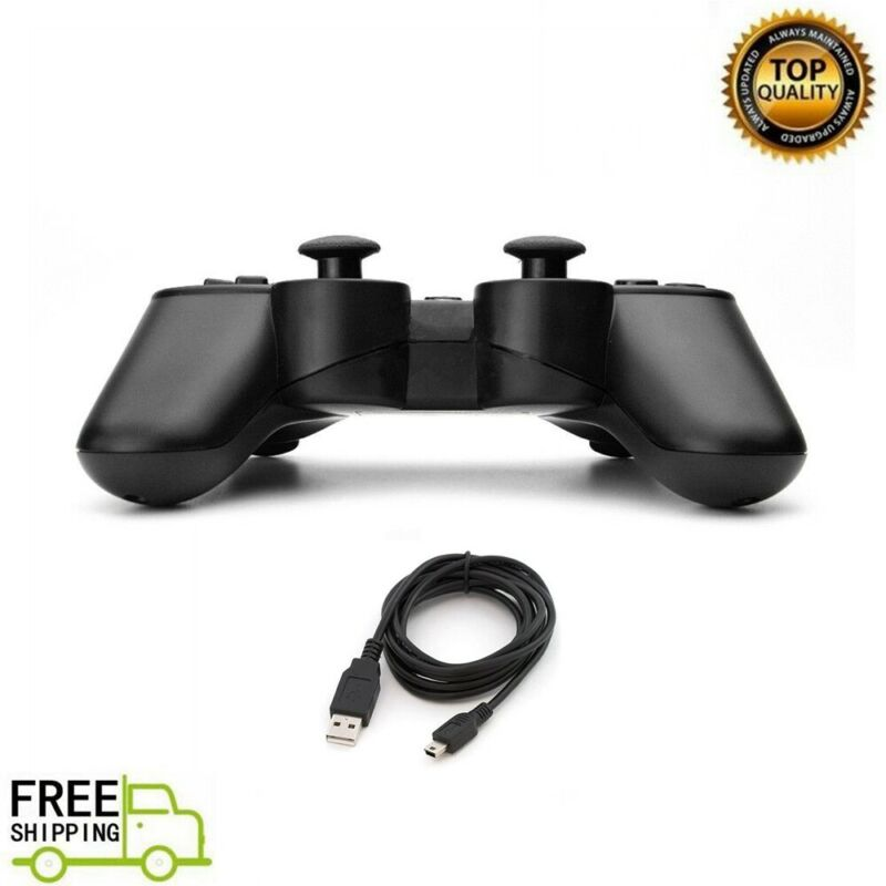 New Wireless Controller For PS3 with Charging Cable Black US SELLER
