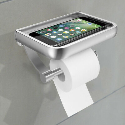 Bathroom Toilet Paper Wall Mount Holder with Mobile Phone Storage Shelf