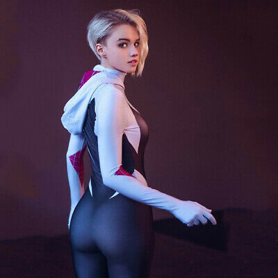 Full Costumes (Womens Spider Gwen Spiderman Costumes Cosplay Full Bodysuit Stacy Lycra)