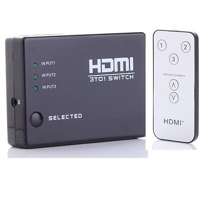 3 Way HDMI Splitter Hub Switch Port + Remote for HDTV Wii U PS3 Xbox 360 3D USA on Rummage