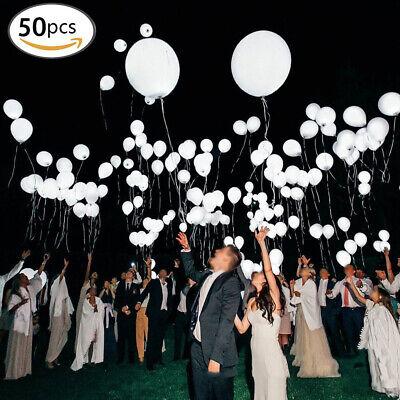 50 x LED Weiß Leuchtende Ballons Luftballons für Hochzeit Party Deko Geburtstag ()